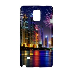 Dubai City At Night Christmas Holidays Fireworks In The Sky Skyscrapers United Arab Emirates Samsung Galaxy Note 4 Hardshell Case