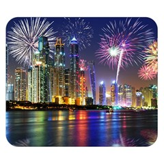 Dubai City At Night Christmas Holidays Fireworks In The Sky Skyscrapers United Arab Emirates Double Sided Flano Blanket (small)