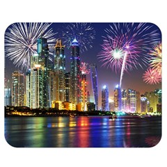Dubai City At Night Christmas Holidays Fireworks In The Sky Skyscrapers United Arab Emirates Double Sided Flano Blanket (medium)
