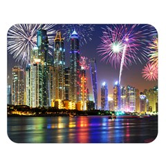 Dubai City At Night Christmas Holidays Fireworks In The Sky Skyscrapers United Arab Emirates Double Sided Flano Blanket (large)