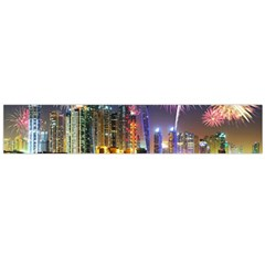 Dubai City At Night Christmas Holidays Fireworks In The Sky Skyscrapers United Arab Emirates Flano Scarf (large)