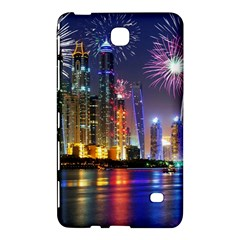 Dubai City At Night Christmas Holidays Fireworks In The Sky Skyscrapers United Arab Emirates Samsung Galaxy Tab 4 (8 ) Hardshell Case