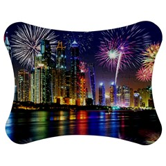 Dubai City At Night Christmas Holidays Fireworks In The Sky Skyscrapers United Arab Emirates Jigsaw Puzzle Photo Stand (Bow)