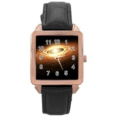 Erupting Star Rose Gold Leather Watch