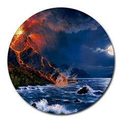 Eruption Of Volcano Sea Full Moon Fantasy Art Round Mousepads