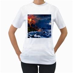 Eruption Of Volcano Sea Full Moon Fantasy Art Women s T Shirt (white) (two Sided)