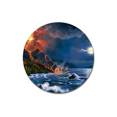 Eruption Of Volcano Sea Full Moon Fantasy Art Magnet 3  (round)