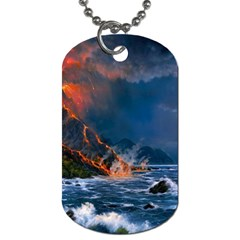 Eruption Of Volcano Sea Full Moon Fantasy Art Dog Tag (one Side)