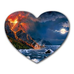 Eruption Of Volcano Sea Full Moon Fantasy Art Heart Mousepads