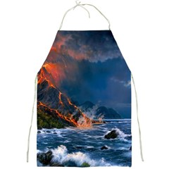 Eruption Of Volcano Sea Full Moon Fantasy Art Full Print Aprons