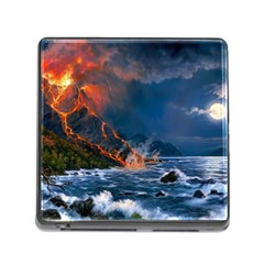 Eruption Of Volcano Sea Full Moon Fantasy Art Memory Card Reader (square)