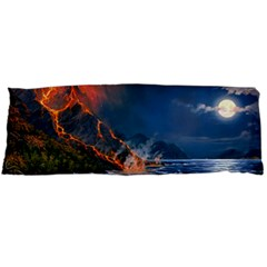 Eruption Of Volcano Sea Full Moon Fantasy Art Body Pillow Case Dakimakura (two Sides)