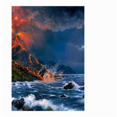Eruption Of Volcano Sea Full Moon Fantasy Art Small Garden Flag (two Sides)