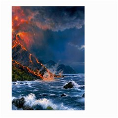 Eruption Of Volcano Sea Full Moon Fantasy Art Large Garden Flag (two Sides)