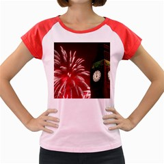 Fireworks Explode Behind The Houses Of Parliament And Big Ben On The River Thames During New Year's Women s Cap Sleeve T Shirt