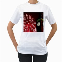 Fireworks Explode Behind The Houses Of Parliament And Big Ben On The River Thames During New Year's Women s T Shirt (white) (two Sided)