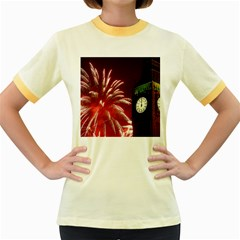 Fireworks Explode Behind The Houses Of Parliament And Big Ben On The River Thames During New Year's Women s Fitted Ringer T Shirts