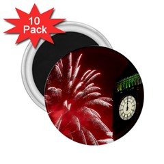 Fireworks Explode Behind The Houses Of Parliament And Big Ben On The River Thames During New Year's 2 25  Magnets (10 Pack)