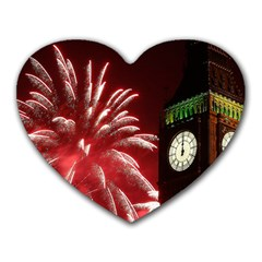 Fireworks Explode Behind The Houses Of Parliament And Big Ben On The River Thames During New Year's Heart Mousepads