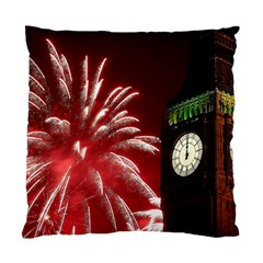 Fireworks Explode Behind The Houses Of Parliament And Big Ben On The River Thames During New Year's Standard Cushion Case (one Side)