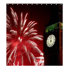 Fireworks Explode Behind The Houses Of Parliament And Big Ben On The River Thames During New Year's Shower Curtain 66  X 72  (large)
