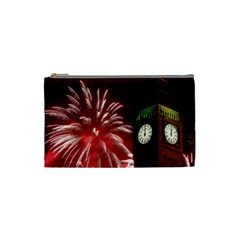 Fireworks Explode Behind The Houses Of Parliament And Big Ben On The River Thames During New Year's Cosmetic Bag (small)