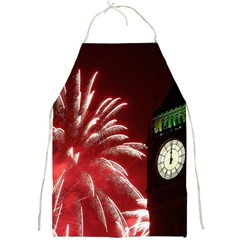 Fireworks Explode Behind The Houses Of Parliament And Big Ben On The River Thames During New Year's Full Print Aprons