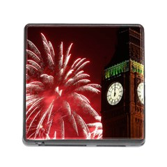 Fireworks Explode Behind The Houses Of Parliament And Big Ben On The River Thames During New Year's Memory Card Reader (square)