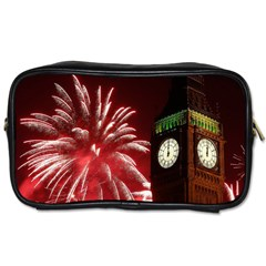 Fireworks Explode Behind The Houses Of Parliament And Big Ben On The River Thames During New Year's Toiletries Bags