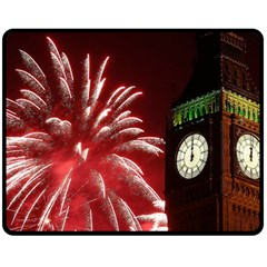 Fireworks Explode Behind The Houses Of Parliament And Big Ben On The River Thames During New Year's Fleece Blanket (medium)