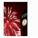 Fireworks Explode Behind The Houses Of Parliament And Big Ben On The River Thames During New Year's Small Garden Flag (Two Sides) Front
