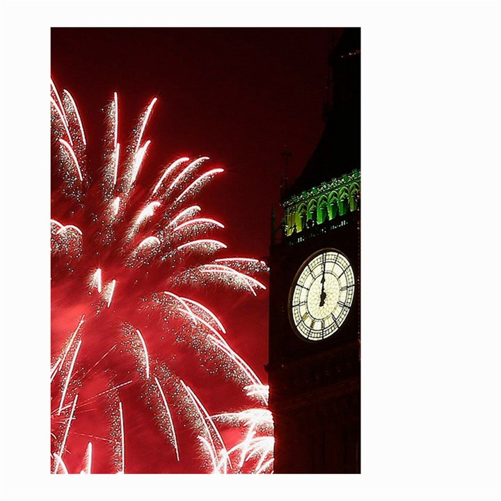 Fireworks Explode Behind The Houses Of Parliament And Big Ben On The River Thames During New Year's Small Garden Flag (Two Sides)