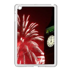 Fireworks Explode Behind The Houses Of Parliament And Big Ben On The River Thames During New Year's Apple Ipad Mini Case (white)