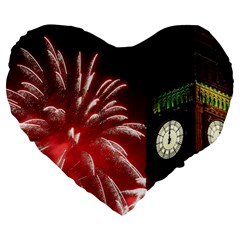 Fireworks Explode Behind The Houses Of Parliament And Big Ben On The River Thames During New Year's Large 19  Premium Flano Heart Shape Cushions