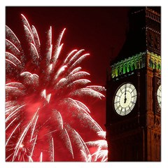 Fireworks Explode Behind The Houses Of Parliament And Big Ben On The River Thames During New Year's Large Satin Scarf (square)