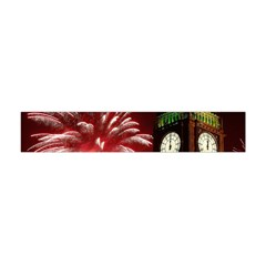 Fireworks Explode Behind The Houses Of Parliament And Big Ben On The River Thames During New Year's Flano Scarf (mini)