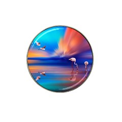 Flamingo Lake Birds In Flight Sunset Orange Sky Red Clouds Reflection In Lake Water Art Hat Clip Ball Marker (4 Pack)