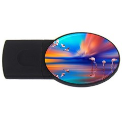 Flamingo Lake Birds In Flight Sunset Orange Sky Red Clouds Reflection In Lake Water Art Usb Flash Drive Oval (4 Gb)