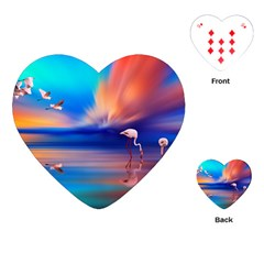 Flamingo Lake Birds In Flight Sunset Orange Sky Red Clouds Reflection In Lake Water Art Playing Cards (heart)
