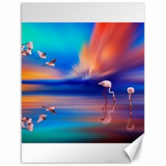 Flamingo Lake Birds In Flight Sunset Orange Sky Red Clouds Reflection In Lake Water Art Canvas 12  X 16