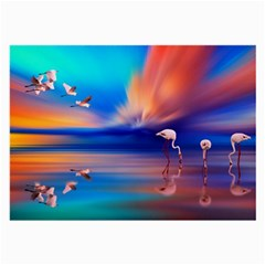 Flamingo Lake Birds In Flight Sunset Orange Sky Red Clouds Reflection In Lake Water Art Large Glasses Cloth (2 Side)