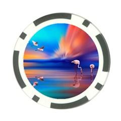 Flamingo Lake Birds In Flight Sunset Orange Sky Red Clouds Reflection In Lake Water Art Poker Chip Card Guard