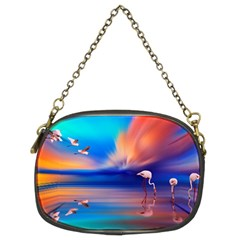 Flamingo Lake Birds In Flight Sunset Orange Sky Red Clouds Reflection In Lake Water Art Chain Purses (two Sides)