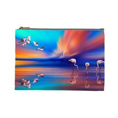 Flamingo Lake Birds In Flight Sunset Orange Sky Red Clouds Reflection In Lake Water Art Cosmetic Bag (large)