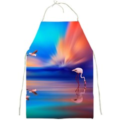 Flamingo Lake Birds In Flight Sunset Orange Sky Red Clouds Reflection In Lake Water Art Full Print Aprons