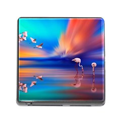 Flamingo Lake Birds In Flight Sunset Orange Sky Red Clouds Reflection In Lake Water Art Memory Card Reader (square)