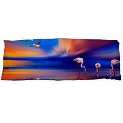 Flamingo Lake Birds In Flight Sunset Orange Sky Red Clouds Reflection In Lake Water Art Body Pillow Case Dakimakura (two Sides)