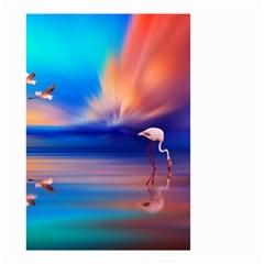 Flamingo Lake Birds In Flight Sunset Orange Sky Red Clouds Reflection In Lake Water Art Small Garden Flag (two Sides)