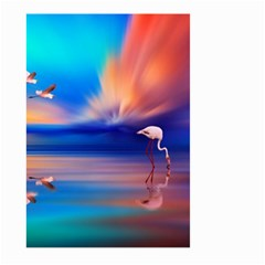 Flamingo Lake Birds In Flight Sunset Orange Sky Red Clouds Reflection In Lake Water Art Large Garden Flag (two Sides)