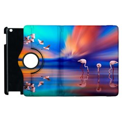 Flamingo Lake Birds In Flight Sunset Orange Sky Red Clouds Reflection In Lake Water Art Apple Ipad 2 Flip 360 Case
